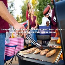 iPerfect Kitchen Envy BBQ Grill Mat – Set of 3 Mats – 100% Non-stick – Reusable – Dishwasher Safe