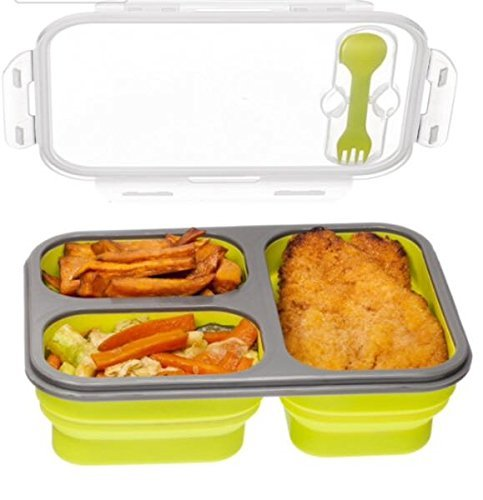 3 compartment food container with lid bento lunch box leak proof microwave. Black Bedroom Furniture Sets. Home Design Ideas