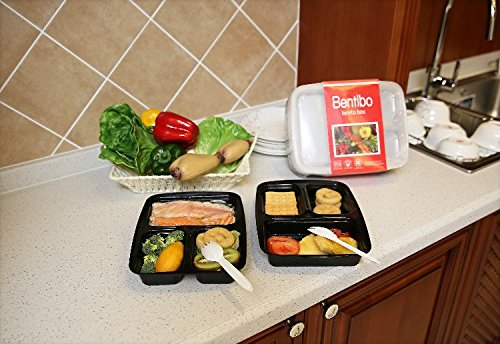 Bentibo 10 Pack 3 Compartment Meal Prep Food Storage Containers with