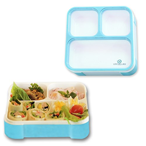 bento lunch box by lifemark labs stylish leakproof lunch kit with 3 compartments for kids. Black Bedroom Furniture Sets. Home Design Ideas