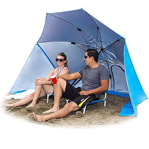 EasyGo Products Brella the Ultimate 2-in-1 Umbrella Shelter – Beach Cabana Tent Sun Shelter – Sets Up in Seconds, Blue