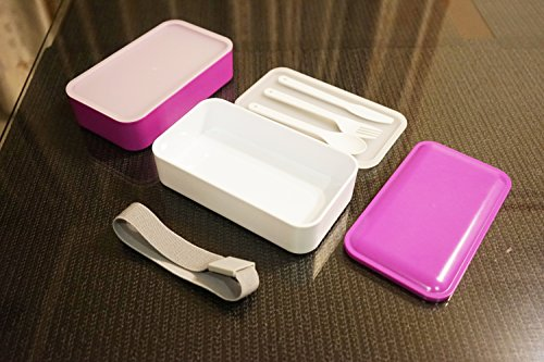 Lunch Box Bento Box Containers with Cutlery Double Stackable Boxes
