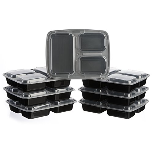 meal prep zone 3 compartment food storage containers with lids for portion control microwave. Black Bedroom Furniture Sets. Home Design Ideas