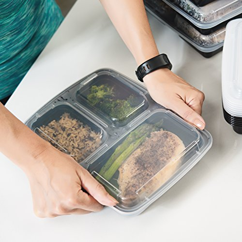 Meal Prep Zone 3 Compartment Food Storage Containers with Lids for