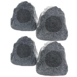 set-of-4-of-New-Outdoor-Garden-Waterproof-Granite-Rock-Patio-Speakers-4R4G-0