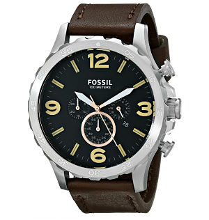 Fossil Men's Nate Chronograph Leather Watch