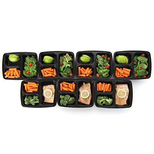 meal prep haven stackable reusable 3 compartment food containers with lids set of 7. Black Bedroom Furniture Sets. Home Design Ideas