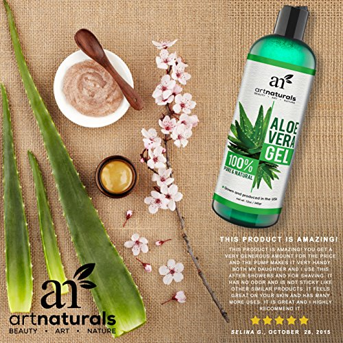 Art Naturals Aloe Vera Gel For Face Hair Body Organic 100 Pure Natural Cold Pressed 12 Oz For Sun Burn Eczema Bug Or Insect Bites Dry Damaged Aging