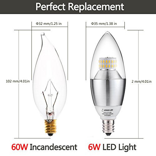 pack of 3 lohas dimmable led candelabra bulb