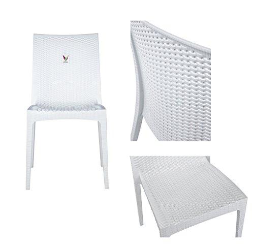 VECELO Indoor Outdoor Stackable Wicker Dining Side Chair ...