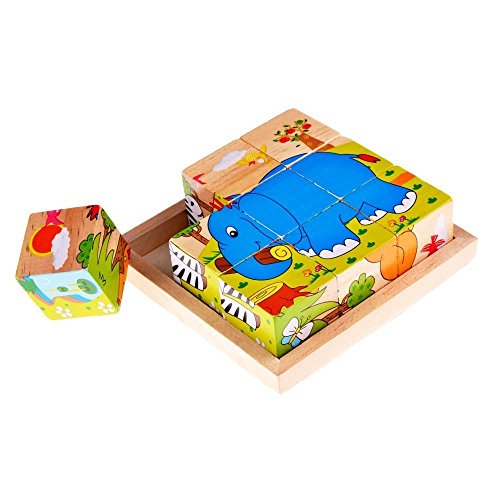 Lewo Wooden Cube Pattern Block Jigsaw Puzzles