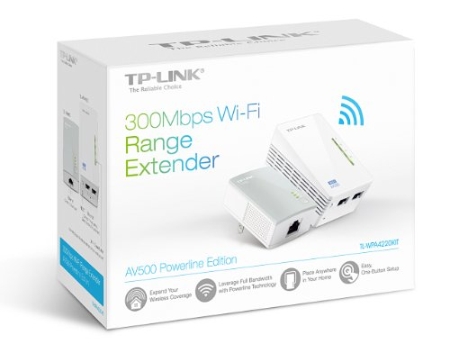 TP-LINK AV500 Wi-Fi Range Extender, Powerline Edition Starter Kit w/ 2 LAN  Ports, Up to 300Mbps Wireless (TL-WPA4220KIT)