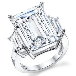 Kim Kardashian Sterling Silver Engagement Wedding Ring with Large Carat Emerald Cut Cubic Zirconia