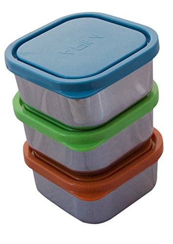 MIRA Set of 3 square Stainless Steel Lunch Box and Food Storage