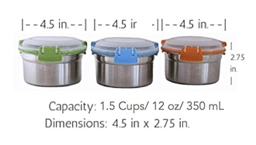 f3427a5b6000 Steelware Snap Seal Leak-proof Stainless Steel Snack Size Lunch Box  Containers for Adults and Kids (12 oz. each)