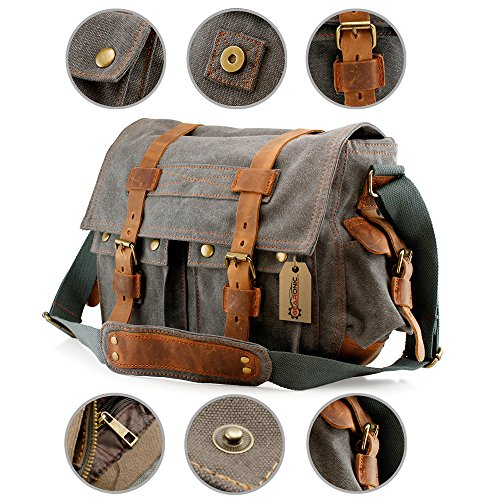 ef2db9837708 GEARONIC TM Men s Vintage Canvas Messenger Bag Shoulder and Leather Satchel  School Military Fit for Notebook Laptop Macbook 11 and 13 inch Air Pro –  Slate