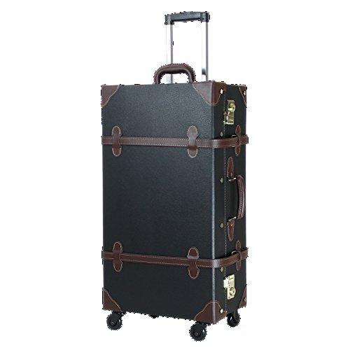 MOIERG Vintage Trolley Luggage 2tone TSA (X-Large, Black) -