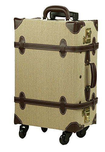 MOIERG Vintage Trolley Luggage suitcase 2tone Cotton Beige Medium ...