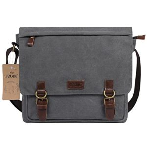 f861b877ea S-ZONE Vintage Canvas Laptop Messenger Bag School Shoulder Bag for  13.3-15inch Laptop Business Briefcase Gray