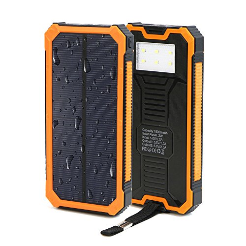huge selection of 8d7a2 b1b22 Solar Power Bank, X-DRAGON Solar Charger 15000mAh Dual USB Portable Solar  Battery Charger for iPhone 7 7s 6 Plus 5S 5C 5 4S, iPod, Samsung Galaxy S6  ...