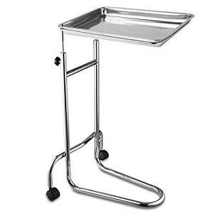 19x13x1-Inches-Mayo-Instrument-Stand-Adjustable-Height-w-Removable-Stainless-Steel-Tray-Double-Post-for-Professional-Medical-Supplies-Hospital-Patient-0