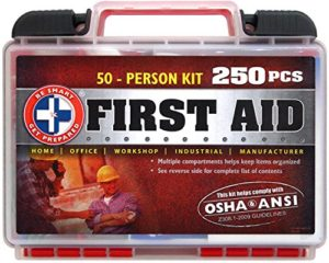 Be-Smart-Get-Prepared-250-Piece-First-Aid-Kit-Exceeds-OSHA-ANSI-Standards-for-50-People-Office-Home-Car-School-Emergency-Survival-Camping-Hunting-and-Sports-0