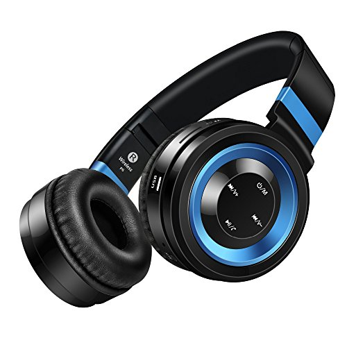 Bluetooth Headphones Amuoc Stereo Wireless Headphones With Microphone Over Ear Foldable Portable Music Bluetooth Headsets For Cellphones Laptop Tablet Tv Headphones Black Blue