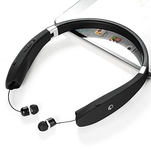 bluetooth headset bluetooth 4 1 wireless stereo headphones earphones neckband with retractable. Black Bedroom Furniture Sets. Home Design Ideas