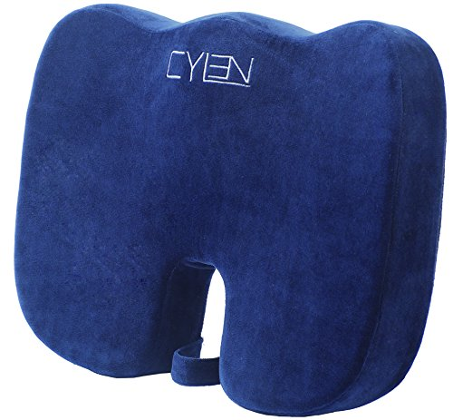CYLEN HOME – Memory Foam Bamboo Charcoal Infused Ventilated Orthopedic Seat Cushion for Coccyx Back Support – Blue Washable & Breathable Cover