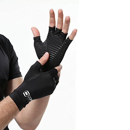 Copper Compression Arthritis Gloves – GUARANTEED Highest Copper Content. #1 Best Copper Infused Fit Glove For Carpal Tunnel, Computer Typing, And Everyday Support For Hands And Joints (1 PAIR)