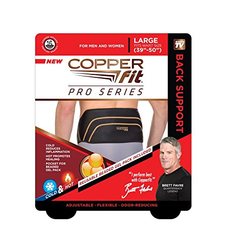 Copper Fit Pro Series Back Support with Hot/Cold Therapy, Black with Copper Trim, Large/X-Large