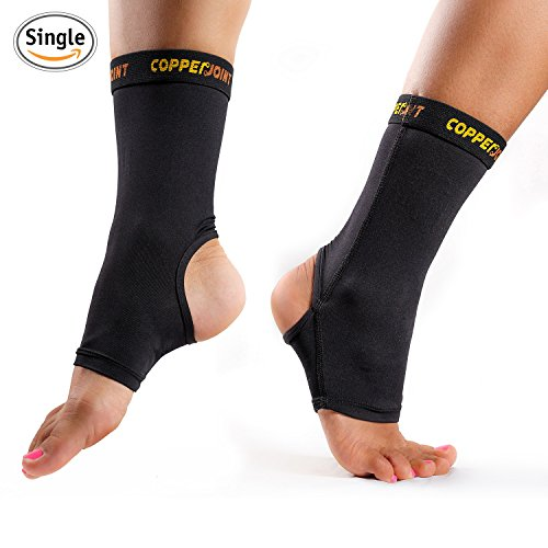 CopperJoint Compression Ankle Sleeve #1 Plantar Fasciitis Sock – GUARANTEED Recovery Brace – Copper Infused Arch Support, Wear Anywhere – Medium – Single Sock