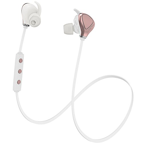 Inzhirui Best Wireless Sport Running Workout Earbud Sweat Proof Bluetooth Headphone Cordless On Ear Neckband Headset For Iphone Ipod Android Samsung Galaxy S7 White Gold