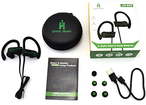 joyful heart jh 800 waterproof noise cancelling wireless bluetooth earbuds sports headphones. Black Bedroom Furniture Sets. Home Design Ideas