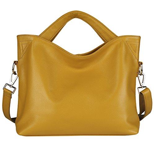 494d007ca95 Lecxci [Premium Real Leather] Fashion Trendy Crossbody Purses Handbags for  Women (Yellow)
