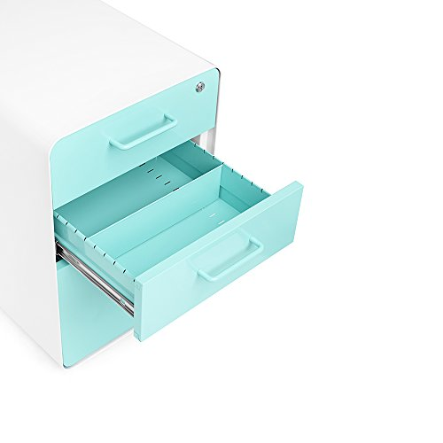 Poppin White + Aqua Stow Rolling 3 Drawer File Cabinet