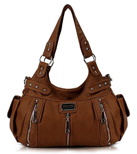 Scarleton 3 Front Zipper Washed Shoulder Bag H129204A – Brown