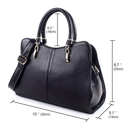 60858a50582 Yafeige Women Ladies Genuine Leather Tote Bag Handbag Shoulder Bag  Top-handle Purse (Black)