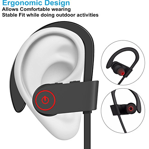 a b sea wireless bluetooth headphones noise cancelling sport headset with mic and secure ear. Black Bedroom Furniture Sets. Home Design Ideas