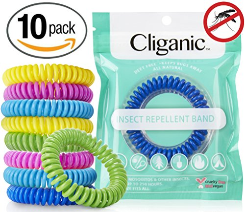 Cliganic Natural Mosquito Repellent Bracelet Waterproof   10 Pack   Bug & Insect Protection , Deet-Free Band, Pest Control for Kids & Adults