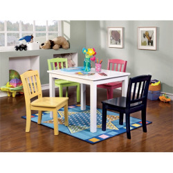 Furniture of America Allie Kids 5 Piece Table and Chair Set in White