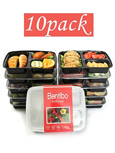 Bentibo 10 Pack 3 Compartment Meal Prep Food Storage ...
