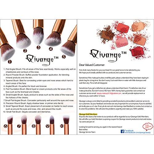 005c2fefb3e2 Qivange Brush Set, Kabuki Makeup Brushes Cosmetic Foundation Blush Blending  Powder Eyeshadow Brushes with Pouch, Black (10pcs)