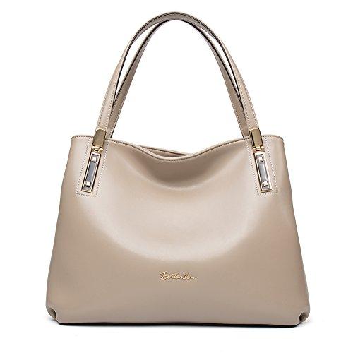 BOSTANTEN Women s Cow Leather Designer Handbags Purses Tote Shoulder Bags  Apricot 65c171932a