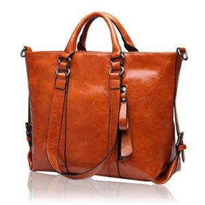 7925ce849a Kattee Women s Vintage Genuine Soft Leather Tote Shoulder Bag ...