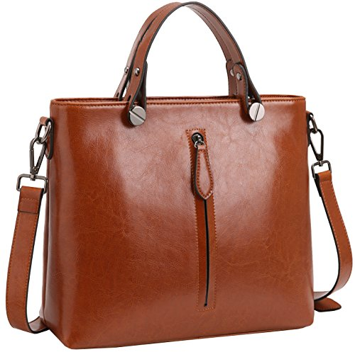 Heshe Women s Leather Handbags Shoulder Bags Tote Bag Cross Body Purses for  Ladies (Brown-R) ea25c9f4350e0