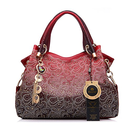 8e023e26a10 Realer Women s Handbag Tote Purse Shoulder Bag Pu Leather Fashion Top  Handle Designer Bags for Ladies